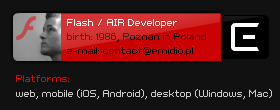 Flash / AIR Developer - web, mobile (iOS, Android), desktop (Windows, Mac)